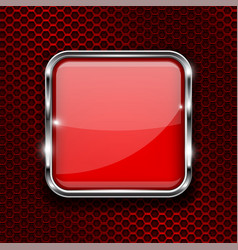 Red button with chrome frame square glass shiny vector