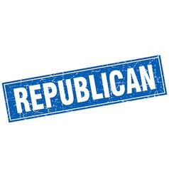 Republican blue square grunge stamp on white vector