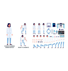 scientist woman character constructor set flat vector image