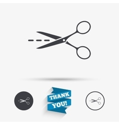 Scissors with cut line sign icon Tailor symbol vector image