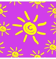 Seamless pattern with hand draw sun vector image