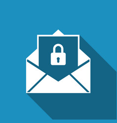 secure mail mailing envelope locked with padlock vector image