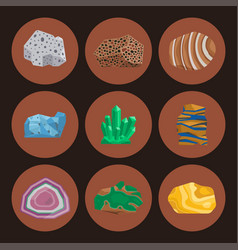 Semi precious gemstones stones and mineral vector