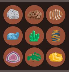 semi precious gemstones stones and mineral vector image