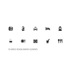 Set of 10 editable plaza icons includes symbols vector