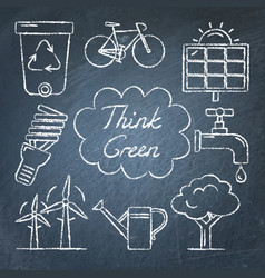 set of hand drawn ecology icons on chalkboard vector image