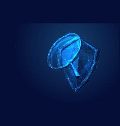 shield and magnifying low-poly blue vector image