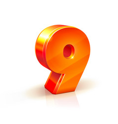 Shiny orange red 3d number 9 isolated on white vector
