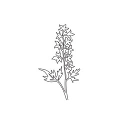 Single one line drawing beauty fresh larkspur for vector