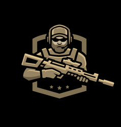 special forces soldier logo emblem on a dark vector image