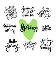 spring time lettering greeting cards set special vector image