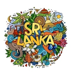 Sri Lanka hand lettering and doodles elements vector