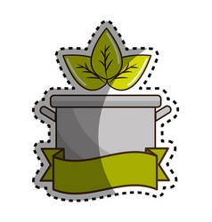 sticker pot kitchen with leaves and ribbon vector image