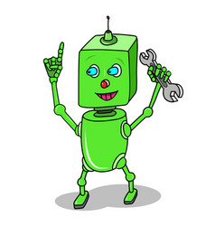 Stock green cartoon robot with spanner vector