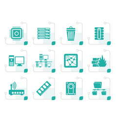 stylized computer and website icons vector image