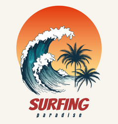Surfer big wave retro poster vector
