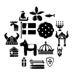 sweden travel icons set simple style vector image
