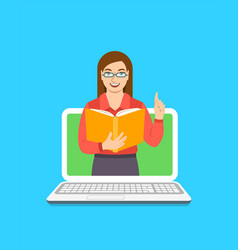 Teacher woman holds open book to share knowledge vector