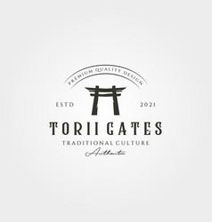 torii gate vintage logo japanese architecture vector image