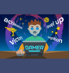 Video game addiction flat young vector