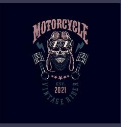 vintage rider skull t shirt graphic design vector image