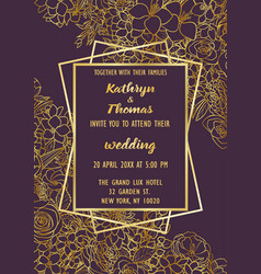 Wedding flowers invitation card vector