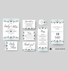 Wedding invite save date rsvp card set vector