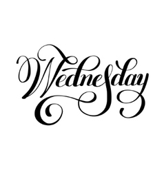 Wednesday day of the week handwritten black ink vector