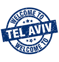 welcome to tel aviv blue stamp vector image