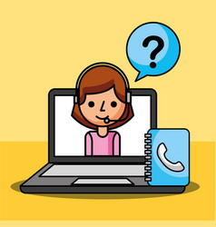Woman agent in laptop questions mark customer vector