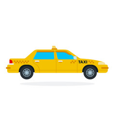 yellow taxi flat isolated vector image