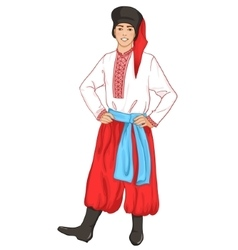 Young man in ukrainian traditional clothes vector image