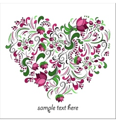 Bright heart made of flowers in vector image