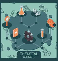 chemical color isometric concept icons vector image vector image