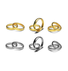 golden rings isolated on white background vector image