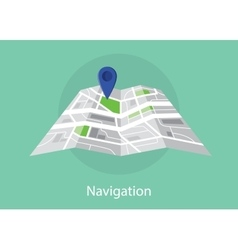 navigation map with maps and pin icon green vector image