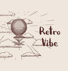 steampunk hand drawn air balloon vector image