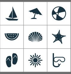 Sun icons set collection of tube bead parasol vector