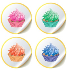 cupcakes on paper stickers vector image vector image