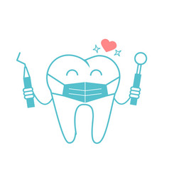 dentist concept in the form of a tooth in a mask vector image vector image
