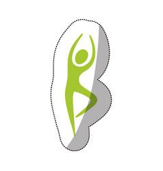 green person dancing icon vector image