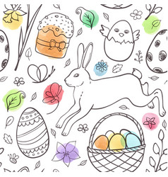 Hand drawn easter pattern with rabbit vector