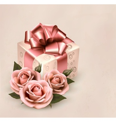 Holiday retro background with pink roses and gift vector image vector image