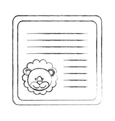 Monochrome blurred card with male lion head vector
