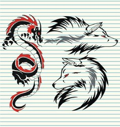 tribal dragon and wolf vector image vector image