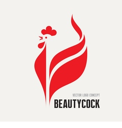 Beauty cock - rooster logo concept vector image