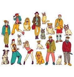 Pets and owners group isolate on white color vector image vector image