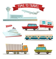 Set of Transportation - Airplane Train Ship Car vector image