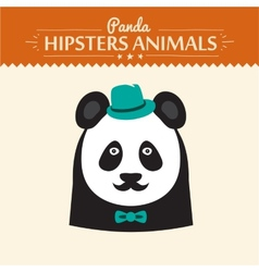 Flat Style Panda Emoticons Set Isolated vector image