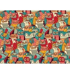 Funny owls birds group color seamless pattern vector image